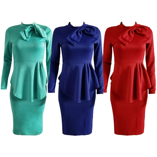 Elegant Women Midi Dress High Neck Long Sleeve Bowknot Ruffles Solid Slim Bodycon OL Dress Red/Green/Dark BlueApparel &amp; Jewelry<br>Elegant Women Midi Dress High Neck Long Sleeve Bowknot Ruffles Solid Slim Bodycon OL Dress Red/Green/Dark Blue<br>