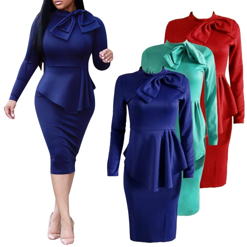 Elegant Women Midi Dress High Neck Long Sleeve Bowknot Ruffles Solid Slim Bodycon OL Dress Red/Green/Dark BlueApparel &amp; Jewelry<br>Elegant Women Midi Dress High Neck Long Sleeve Bowknot Ruffles Solid Slim Bodycon OL Dress Red/Green/Dark Blue<br>