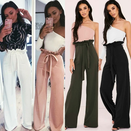 New Women High Waist Pants Belt Ruffle Zip Solid Color Wide Leg Trousers Elegant Long PantApparel &amp; Jewelry<br>New Women High Waist Pants Belt Ruffle Zip Solid Color Wide Leg Trousers Elegant Long Pant<br>