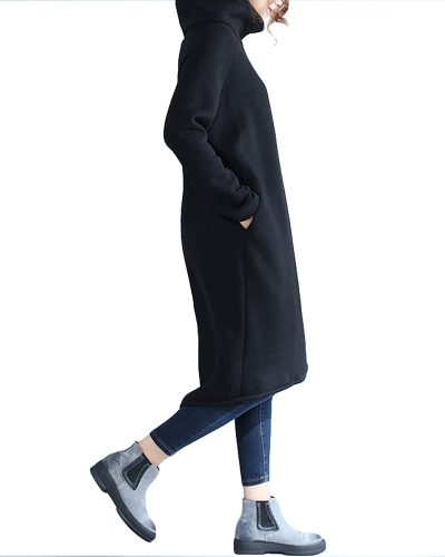 Fashion Women Casual Loose Turtleneck Dress Solid Color Long Sleeve Fleece Cashmere Warm Long Top SweaterApparel &amp; Jewelry<br>Fashion Women Casual Loose Turtleneck Dress Solid Color Long Sleeve Fleece Cashmere Warm Long Top Sweater<br>