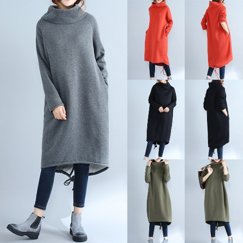 Fashion Women Casual Loose Turtleneck Dress Solid Color Long Sleeve Fleece Cashmere Warm Long Top SweaterApparel &amp; Jewelry<br>Fashion Women Casual Loose Turtleneck Dress Solid Color Long Sleeve Fleece Cashmere Warm Long Top Sweater<br>