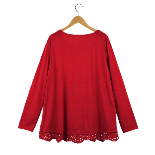 New Fashion Women Casual T-Shirt Round Neck Long Sleeve Crochet Lace Splice Irregular Hem Top TeeApparel &amp; Jewelry<br>New Fashion Women Casual T-Shirt Round Neck Long Sleeve Crochet Lace Splice Irregular Hem Top Tee<br>