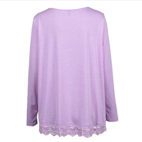 New Fashion Women Casual T-Shirt Round Neck Long Sleeve Crochet Lace Splice Irregular Hem Top Tee