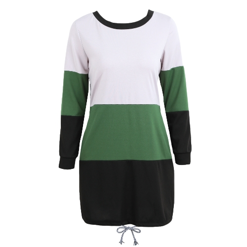 Women Casual Long Sleeve Dress Color Block Tie Back O-Neck Pockets Drawstring Loose Contrast T-Shirt DressApparel &amp; Jewelry<br>Women Casual Long Sleeve Dress Color Block Tie Back O-Neck Pockets Drawstring Loose Contrast T-Shirt Dress<br>