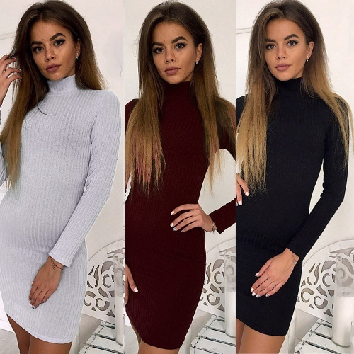Women Knit Dress Mini Sweater Dress Turtleneck Long Sleeve Solid Bodycon Casual Party Pullover Pencil DressApparel &amp; Jewelry<br>Women Knit Dress Mini Sweater Dress Turtleneck Long Sleeve Solid Bodycon Casual Party Pullover Pencil Dress<br>