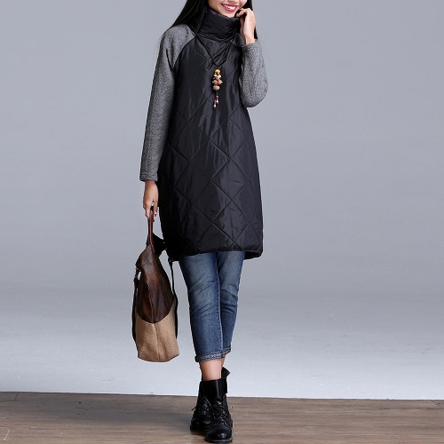 New Autumn Winter Women Plus Size Quilted Dress Turtleneck Long Sleeves Pockets Robe Casual Loose Tunic DressApparel &amp; Jewelry<br>New Autumn Winter Women Plus Size Quilted Dress Turtleneck Long Sleeves Pockets Robe Casual Loose Tunic Dress<br>