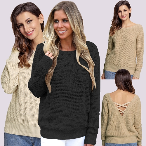 Women Knitted Loose Sweater Solid V Back Bandage Cross Over Hollow Out Long Sleeve Casual JumperApparel &amp; Jewelry<br>Women Knitted Loose Sweater Solid V Back Bandage Cross Over Hollow Out Long Sleeve Casual Jumper<br>