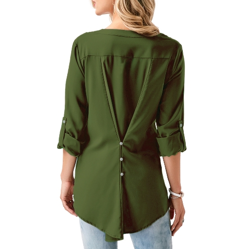Women Chiffon Lace Shirt Blouse V Neck Roll-up Long Sleeves Buttoned Back Pocket Asymmetrical Casual Tunic TopsApparel &amp; Jewelry<br>Women Chiffon Lace Shirt Blouse V Neck Roll-up Long Sleeves Buttoned Back Pocket Asymmetrical Casual Tunic Tops<br>