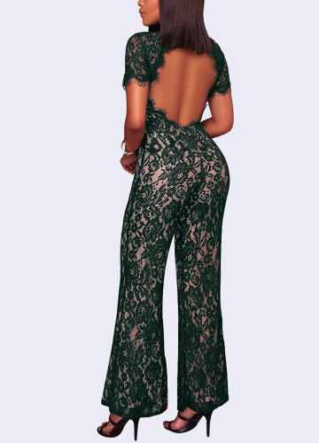 New Sexy Women Lace Jumpsuit O Neck Short Sleeve Open Back Wide Leg Long Pants Romper Clubwear OverallsApparel &amp; Jewelry<br>New Sexy Women Lace Jumpsuit O Neck Short Sleeve Open Back Wide Leg Long Pants Romper Clubwear Overalls<br>