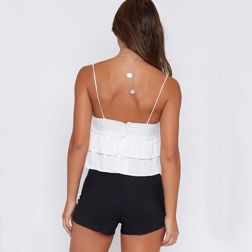 New Sexy Women Spaghetti Strap Top Layered Ruffles V Neck Sleeveless Backless Crop Top White