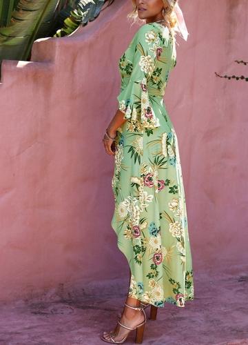 Sexy Women Dress Floral Print Deep V-Neck Flare Sleeves High Split Belt Bohemian Maxi Dresses