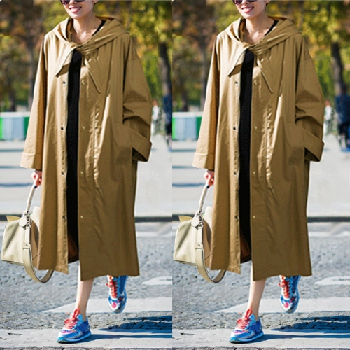 Fashion Women Hooded Trench Coat Long Sleeve Casual Loose Solid Street Outerwear Long Coat Large Size Green/KhakiApparel &amp; Jewelry<br>Fashion Women Hooded Trench Coat Long Sleeve Casual Loose Solid Street Outerwear Long Coat Large Size Green/Khaki<br>