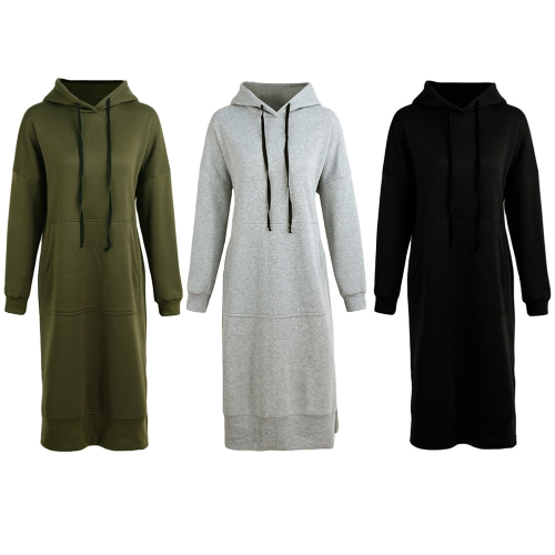New Women Loose Long Sweatshirt Hooded Dress Solid Long Sleeve Pockets Split Casual Warm HoodiesApparel &amp; Jewelry<br>New Women Loose Long Sweatshirt Hooded Dress Solid Long Sleeve Pockets Split Casual Warm Hoodies<br>