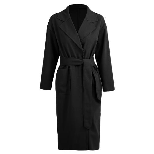Winter Women Coat Solid Long Coat Collar Overcoat Belt Long Sleeves Pockets Female Warm Casual OuterwearApparel &amp; Jewelry<br>Winter Women Coat Solid Long Coat Collar Overcoat Belt Long Sleeves Pockets Female Warm Casual Outerwear<br>