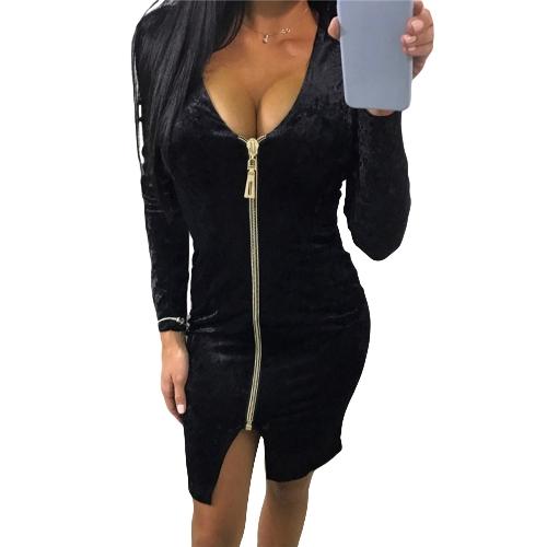 Sexy Women Bodycon Velvet Dress V-Neck Long Sleeve Zip Split Nightclub Party Pencil Midi DressApparel &amp; Jewelry<br>Sexy Women Bodycon Velvet Dress V-Neck Long Sleeve Zip Split Nightclub Party Pencil Midi Dress<br>