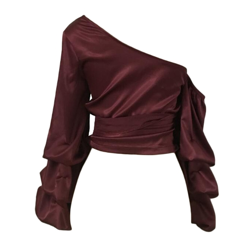 Women Satin Blouse Top Cross One Shoulder Bandage Layer Sleeves Casual Shirt BurgundyApparel &amp; Jewelry<br>Women Satin Blouse Top Cross One Shoulder Bandage Layer Sleeves Casual Shirt Burgundy<br>