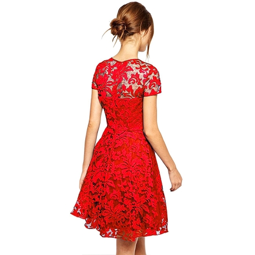 New Sexy Women Floral Lace Dress Round Neck Short Sleeve Pleated Swing Cocktail Party Dress Blue/Black/RedApparel &amp; Jewelry<br>New Sexy Women Floral Lace Dress Round Neck Short Sleeve Pleated Swing Cocktail Party Dress Blue/Black/Red<br>
