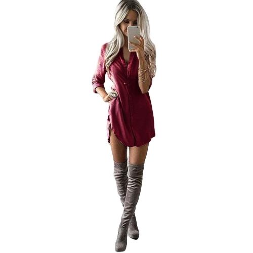 New Casual Women Solid Long Shirt Button Front Turn-down Collar Long Sleeves Irregular Hem ShirtApparel &amp; Jewelry<br>New Casual Women Solid Long Shirt Button Front Turn-down Collar Long Sleeves Irregular Hem Shirt<br>