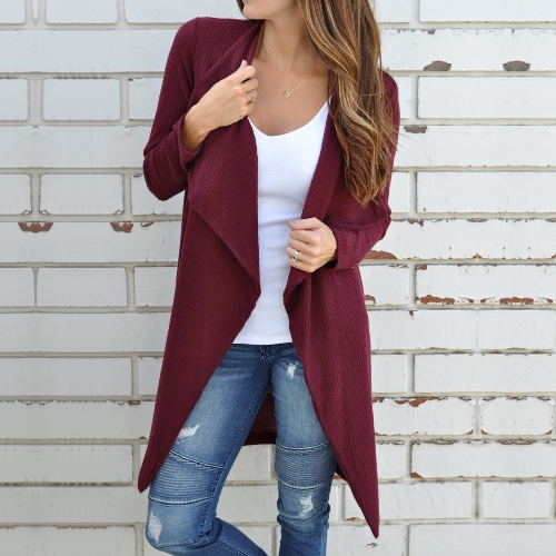 Women Waffle Knitted Cardigan Coat Open Front Turn-down Collar Bertha Loose Long OutwearApparel &amp; Jewelry<br>Women Waffle Knitted Cardigan Coat Open Front Turn-down Collar Bertha Loose Long Outwear<br>