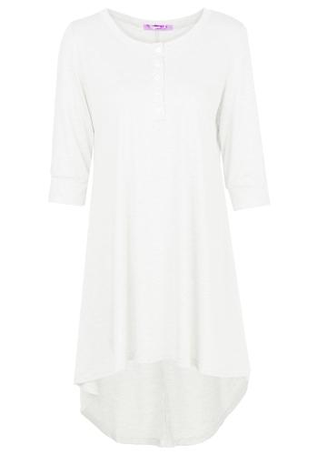 Fashion Women Long Tunic Top Basic T-Shirt Button Front O Neck Long Sleeve Irregular Hem Mini DressApparel &amp; Jewelry<br>Fashion Women Long Tunic Top Basic T-Shirt Button Front O Neck Long Sleeve Irregular Hem Mini Dress<br>