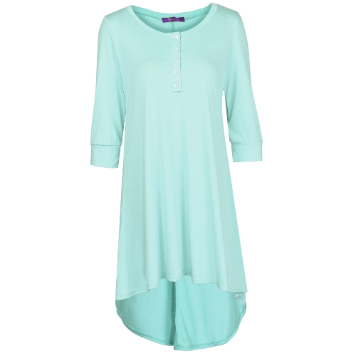Fashion Women Long Tunic Top Basic T-Shirt Button Front O Neck Long Sleeve Irregular Hem Mini DressApparel &amp; Jewelry<br>Fashion Women Long Tunic Top Basic T-Shirt Button Front O Neck Long Sleeve Irregular Hem Mini Dress<br>