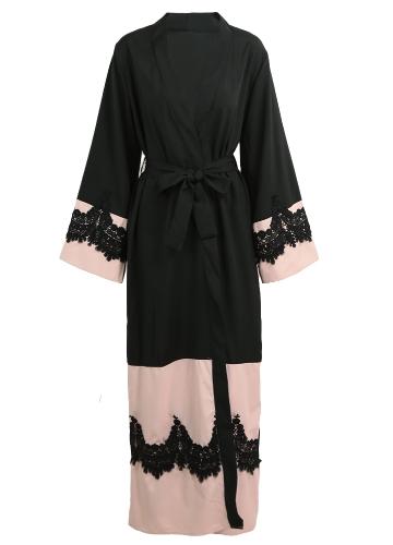 Women Plus Size Muslim Cardigan Crochet Lace Spliced Open Front Long Wide Sleeve Maxi Gown Islamic Dress
