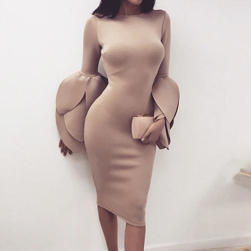 Sexy Women Bodycon Dress O-Neck Petal Long Sleeves Zipper Solid Slim Party Evening DressesApparel &amp; Jewelry<br>Sexy Women Bodycon Dress O-Neck Petal Long Sleeves Zipper Solid Slim Party Evening Dresses<br>