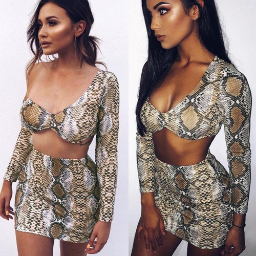 Sexy Women Two-piece Set Snake Print One Shoulder Crop Top Deep V Neck Long Sleeve Slim Bodycon Skirt Suits Party Clubwear KhakiApparel &amp; Jewelry<br>Sexy Women Two-piece Set Snake Print One Shoulder Crop Top Deep V Neck Long Sleeve Slim Bodycon Skirt Suits Party Clubwear Khaki<br>