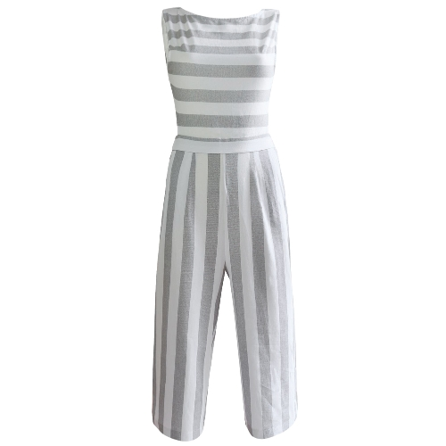 Sexy Women Stripe Jumpsuit Sleeveless Backless Zipper Shirred Wide Leg Playsuit Rompers Blue/Grey/KhakiApparel &amp; Jewelry<br>Sexy Women Stripe Jumpsuit Sleeveless Backless Zipper Shirred Wide Leg Playsuit Rompers Blue/Grey/Khaki<br>