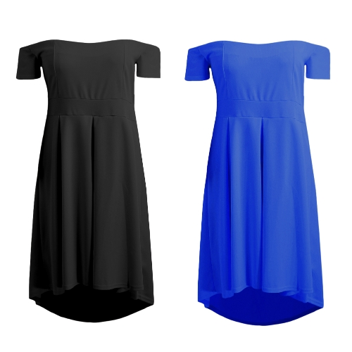 Women Plus Size Off Shoulder Midi Dress Irregular Slash Neck Ruffle Elegant A-Line Party Swing Dress Black/BlueApparel &amp; Jewelry<br>Women Plus Size Off Shoulder Midi Dress Irregular Slash Neck Ruffle Elegant A-Line Party Swing Dress Black/Blue<br>