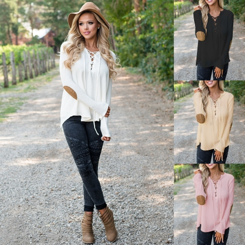 Autumn Women Lace Up T-Shirt Deep V-Neck Long Sleeve Patch Casual loose Tee TopApparel &amp; Jewelry<br>Autumn Women Lace Up T-Shirt Deep V-Neck Long Sleeve Patch Casual loose Tee Top<br>