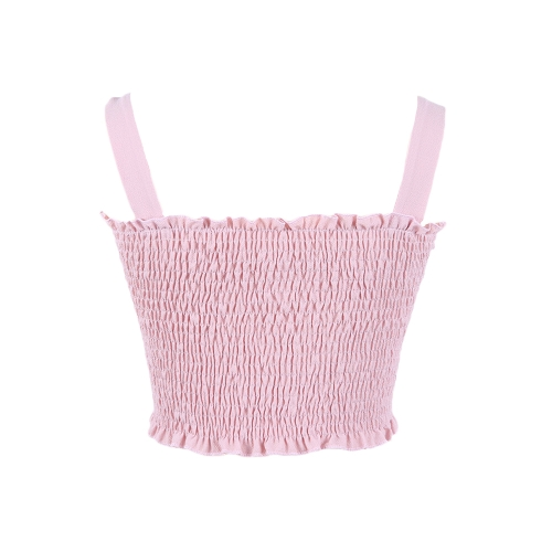Sexy Women Crop Top Strappy Tank Tops Spaghetti Strap Ruffle Sleeveless Solid Slim Bustier VestApparel &amp; Jewelry<br>Sexy Women Crop Top Strappy Tank Tops Spaghetti Strap Ruffle Sleeveless Solid Slim Bustier Vest<br>