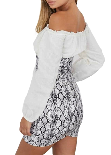Sexy Women Snake Print Open Chest Bodycon Dress Strapless High Waist Back Zipper Mini Dress Corset WhiteApparel &amp; Jewelry<br>Sexy Women Snake Print Open Chest Bodycon Dress Strapless High Waist Back Zipper Mini Dress Corset White<br>