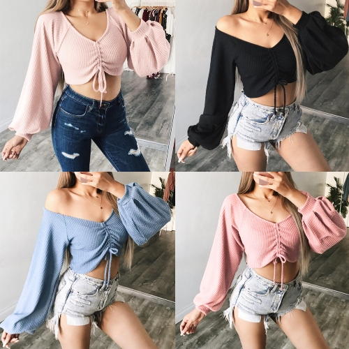 Women Sexy Crop Top Drawstring T-Shirt Deep V-Neck Off Shoulder Ruched Lantern Sleeve Shirt TopApparel &amp; Jewelry<br>Women Sexy Crop Top Drawstring T-Shirt Deep V-Neck Off Shoulder Ruched Lantern Sleeve Shirt Top<br>