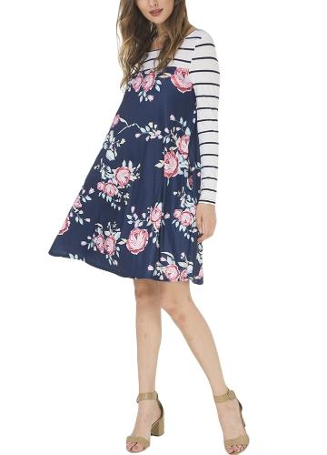 Women Autumn Floral Stripe Print Dress Long Sleeve Pockets Casual Loose T-Shirt Dress Midi Swing DressApparel &amp; Jewelry<br>Women Autumn Floral Stripe Print Dress Long Sleeve Pockets Casual Loose T-Shirt Dress Midi Swing Dress<br>