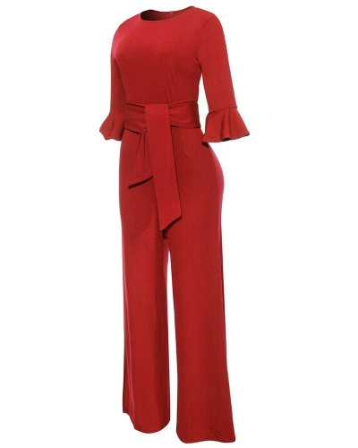 Sexy Women Jumpsuit O-Neck Flare Half Sleeves Belt Wide Legs Solid Elegant Casual RomperApparel &amp; Jewelry<br>Sexy Women Jumpsuit O-Neck Flare Half Sleeves Belt Wide Legs Solid Elegant Casual Romper<br>