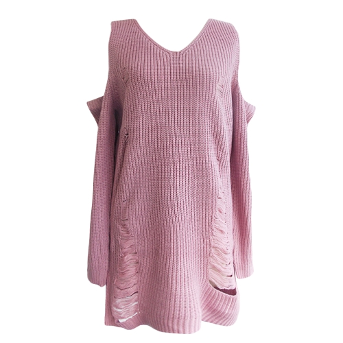 Women Loose Knitted Sweater Cold Shoulder Destroyed Holes V-Neck Long Sleeve Warm Pullover Tops Knitwear
