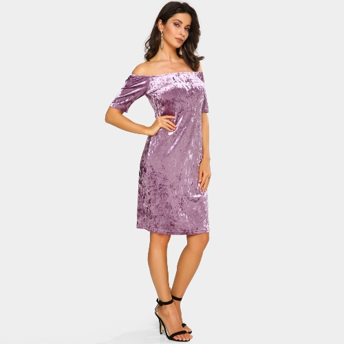 Sexy Women Velvet Dress Off Shoulder Slash Neck Party Night Club Bodycon Sheath Elegant Dress PurpleApparel &amp; Jewelry<br>Sexy Women Velvet Dress Off Shoulder Slash Neck Party Night Club Bodycon Sheath Elegant Dress Purple<br>