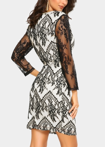 Sexy Women Floral Lace Dress Sheer O-Neck Long Sleeve Zip Nightclub Party Mini Pencil Dress BlackApparel &amp; Jewelry<br>Sexy Women Floral Lace Dress Sheer O-Neck Long Sleeve Zip Nightclub Party Mini Pencil Dress Black<br>