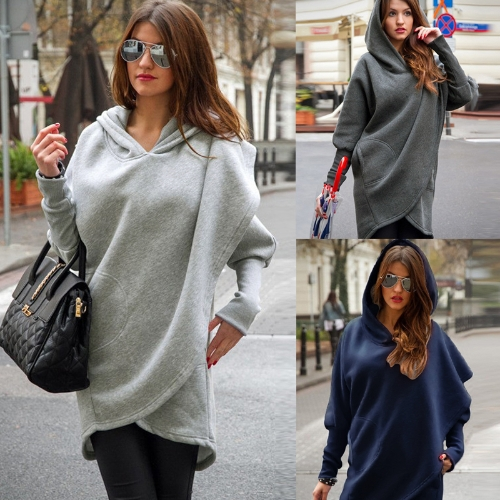 Fashion Women Hoodie Sweatshirts Long Sleeve Asymmetric Casual Loose Irregular Pullover Hooded Tops Light Grey/Dark Grey/BlueApparel &amp; Jewelry<br>Fashion Women Hoodie Sweatshirts Long Sleeve Asymmetric Casual Loose Irregular Pullover Hooded Tops Light Grey/Dark Grey/Blue<br>