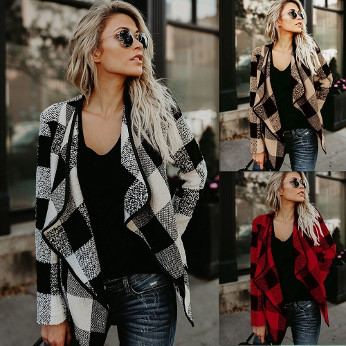 Fashion Women Long Sleeve Plaid Cardigan Lapel Collar Casual Irregular Jacket Blazer Coat OutwearApparel &amp; Jewelry<br>Fashion Women Long Sleeve Plaid Cardigan Lapel Collar Casual Irregular Jacket Blazer Coat Outwear<br>