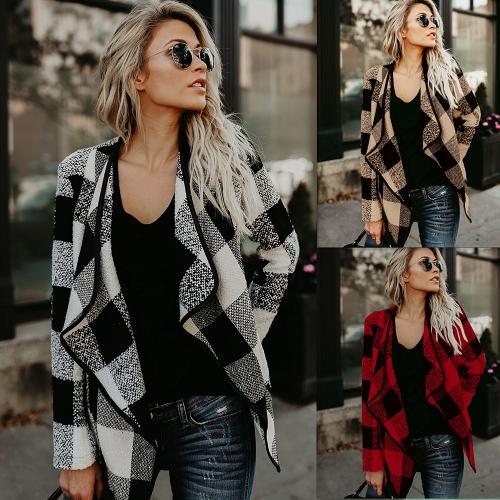 Fashion Women Long Sleeve Plaid Cardigan Lapel Collar Casual Irregular Jacket Blazer Coat OutwearApparel &amp; Jewelry<br>Fashion Women Long Sleeve Plaid Cardigan Lapel Collar Casual Irregular Jacket Blazer Coat Outwear<br>