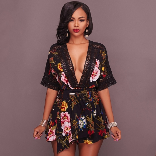 Women Pluse Size Playsuit Floral Print Plunge V Crochet Lace Cut Out Backless Elastic Waist Tie Sexy Party ClubwearApparel &amp; Jewelry<br>Women Pluse Size Playsuit Floral Print Plunge V Crochet Lace Cut Out Backless Elastic Waist Tie Sexy Party Clubwear<br>