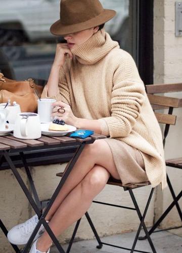 New Autumn Winter Women Warm Oversize Turtleneck Sweater Long Sleeve Pockets Casual Rib Knitted Jumper Mini Dress