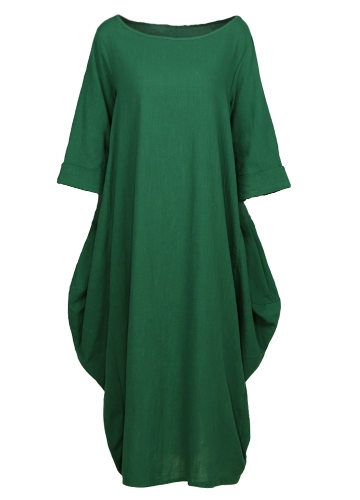 Ethnic Women Dress Solid Cotton Pocket Round Neck 3/4 Sleeve Loose Baggy Vintage Maxi Gown Robe One-PieceApparel &amp; Jewelry<br>Ethnic Women Dress Solid Cotton Pocket Round Neck 3/4 Sleeve Loose Baggy Vintage Maxi Gown Robe One-Piece<br>