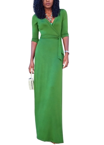 Sexy Women Maxi Dress Deep V Neck Side Split Three Quarter Sleeve Solid Slim Elegant Belted Long DressApparel &amp; Jewelry<br>Sexy Women Maxi Dress Deep V Neck Side Split Three Quarter Sleeve Solid Slim Elegant Belted Long Dress<br>