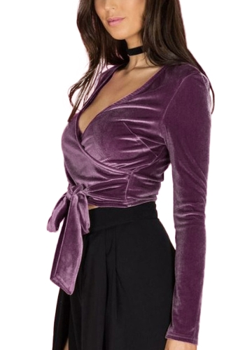 Women Velvet Crop Top Wraparound Deep V Neck Tied Waist Long Sleeves Blouse Shirt Casual TopsApparel &amp; Jewelry<br>Women Velvet Crop Top Wraparound Deep V Neck Tied Waist Long Sleeves Blouse Shirt Casual Tops<br>