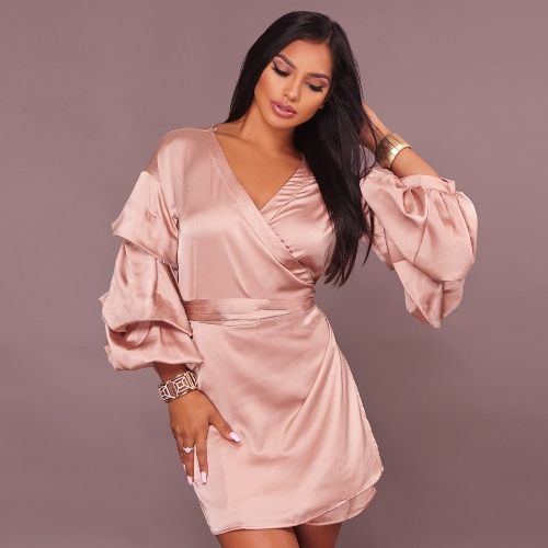 Women Satin Dress Cross V-Neck Layer Sleeve Belted Silk Shiny Party Mini Dress PinkApparel &amp; Jewelry<br>Women Satin Dress Cross V-Neck Layer Sleeve Belted Silk Shiny Party Mini Dress Pink<br>