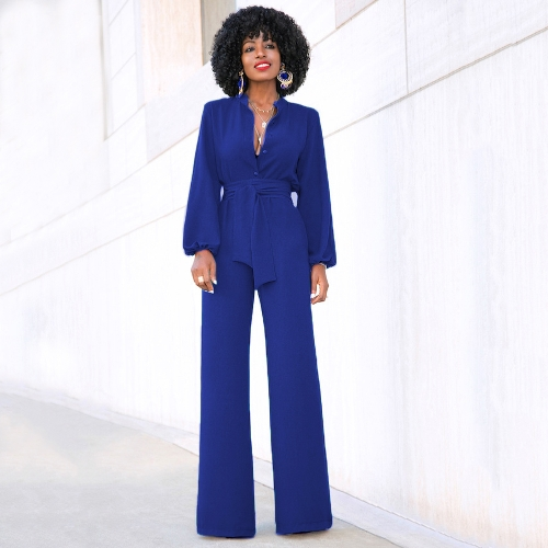 Women Jumpsuit Solid Color Stand Collar Long Sleeve Buttons High Elastic Waist Tie Wide Legs Party WearApparel &amp; Jewelry<br>Women Jumpsuit Solid Color Stand Collar Long Sleeve Buttons High Elastic Waist Tie Wide Legs Party Wear<br>