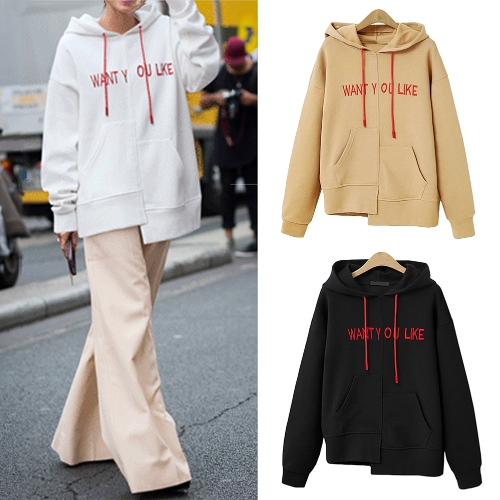 New Fashion Women Sweatshirts Hooded Long Sleeve Pullover Plus Size Loose Hoodies Tops Black/Khaki/WhiteApparel &amp; Jewelry<br>New Fashion Women Sweatshirts Hooded Long Sleeve Pullover Plus Size Loose Hoodies Tops Black/Khaki/White<br>